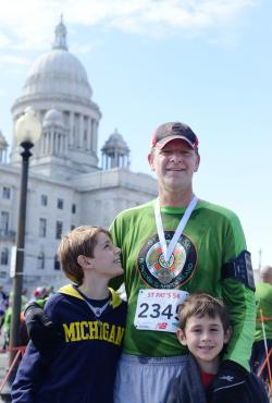 With the boys at St. Pat's 5K in Providence.